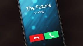 未来拜访一个巧妙的电话 免版税库存照片