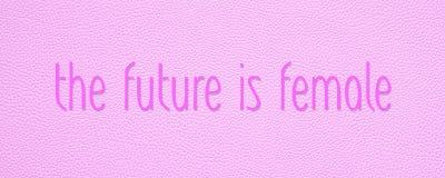 未来是女性桃红色援权横幅 库存照片