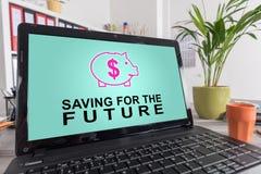 未来概念的挽救在膝上型计算机 免版税图库摄影