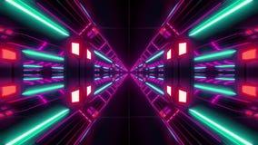 未来派与好的焕发的科学幻想小说airhangar隧道走廊回报背景的vjloop和反射3d 库存例证