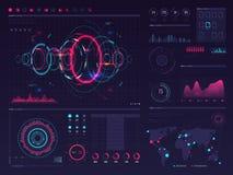 未来派与视觉数据图表的hud数字式触摸屏显示,盘区和图导航infographic模板 向量例证