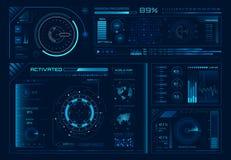 未来派全息图ui 科学hud接口、图表接口框架和技术管理者或者按钮设计元素 皇族释放例证