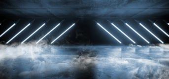 未来派减速火箭的萤光光亮三角塑造氖灯激光的烟空的科学幻想小说带领了在难看的东西的发光的充满活力的光 皇族释放例证
