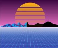 未来派减速火箭的80s太阳的风景 科学幻想小说背景80s样式 适用于在80s样式的任何印刷品设计 库存例证