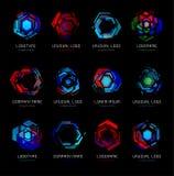 未来派反应器摘要五颜六色的传染媒介商标模板 创新技术数字式设计作用商标设置了  库存例证