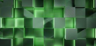 未来派发光的绿色正方形3d背景翻译例证 库存图片