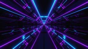 未来派多颜色科学幻想小说隧道3d回报 向量例证