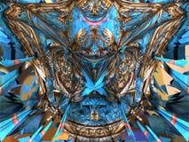 未来派数字式3d艺术分数维例证-看在无限 向量例证
