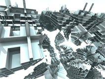 未来派数字式3d艺术分数维例证-看在无限 库存例证