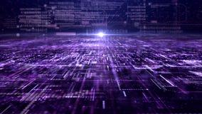 未来派数字抽象矩阵微粒栅格 免版税库存图片