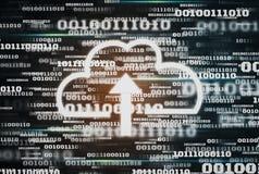 未来派数字资料二进制编码背景和云彩计算的象技术,保留大数据和互联网的概念  库存照片