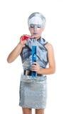 未来派方式儿童女孩银构成 免版税图库摄影