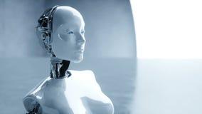 未来派有人的特点的女性机器人是无所事事的 未来的概念 现实4K动画 向量例证