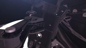 未来派机器人3D 在太空飞船里面 向量例证