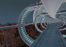 未来派桥梁的城市 免版税图库摄影