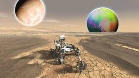未来派毁损红色行星b流浪者探索的vasts  库存照片