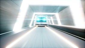 未来派现代火车,单轨铁路车快速驾驶在科学幻想小说隧道, coridor 未来的概念 现实4K动画 皇族释放例证