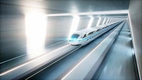 未来派现代火车,单轨铁路车快速驾驶在科学幻想小说隧道, coridor 未来的概念 3d翻译 向量例证