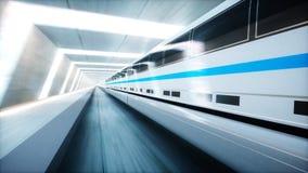 未来派现代火车,单轨铁路车快速驾驶在科学幻想小说隧道, coridor 未来的概念 3d翻译 免版税图库摄影