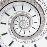 未来派现代白色报时表摘要分数维超现实的螺旋 观看时钟异常的抽象纹理样式分数维背景 免版税库存照片