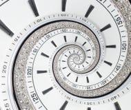 未来派现代白色报时表摘要分数维超现实的螺旋 观看时钟异常的抽象纹理样式分数维backgrou 免版税库存图片