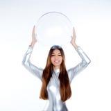未来派玻璃盔甲藏品银妇女 免版税图库摄影
