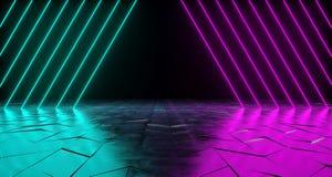 未来派科学幻想小说三角形状的氖灯充满活力的紫色和B 向量例证