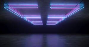 未来派科学幻想小说托架塑造了与反射的霓虹蓝色和紫色发光的光在具体地板和天花板黑暗空 皇族释放例证