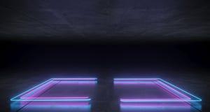 未来派科学幻想小说托架形状的霓虹蓝色和紫色发光的李 向量例证
