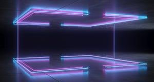 未来派科学幻想小说托架形状的霓虹蓝色和紫色发光的李 库存例证