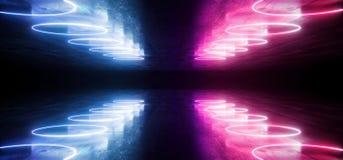 未来派科学幻想小说霓虹发光的紫色蓝色激光塑造了摘要真正萤光黑暗的光滑的充满活力的隧道走廊走廊 皇族释放例证