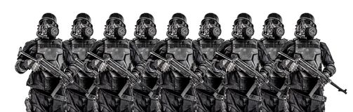 未来派纳粹战士铁线小队  免版税库存照片