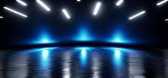 未来派蓝色霓虹焕发科学幻想小说充满活力的黑暗的阶段陈列室指挥台虚拟现实空的反射难看的东西具体激光3D 皇族释放例证