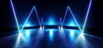 未来派蓝色霓虹焕发科学幻想小说充满活力的黑暗的阶段陈列室指挥台虚拟现实空的反射难看的东西具体激光3D 库存例证