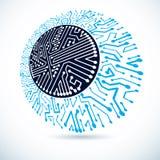 未来派计算机控制学的圆的计划,传染媒介主板illustrat 向量例证
