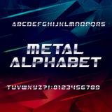 未来派镀铬物字母表字体 金属作用倾斜信件和数字在抽象背景 皇族释放例证