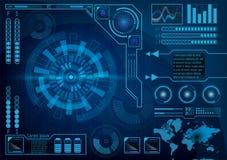 未来派雷达显示器用户界面 HUD 传染媒介EPS 10 库存例证