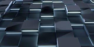 未来派3d回报例证技术背景 与发光的立方体的抽象结构 免版税图库摄影