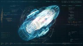 未来派HUD全息照相的电磁式机器 库存例证