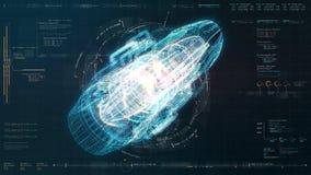 未来派HUD全息照相的电磁式机器 向量例证