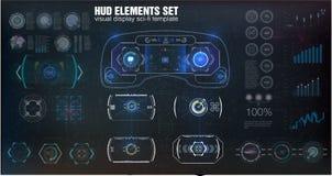 未来派VR平视显示的显示器设计 科学幻想小说盔甲HUD 将来的技术显示 库存照片