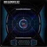 未来派VR平视显示的显示器设计 科学幻想小说盔甲HUD 库存图片