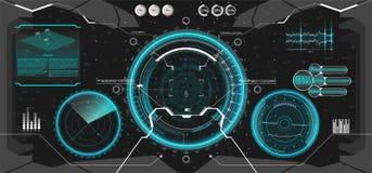 未来派VR平视显示的显示器设计 HUD UI 库存例证