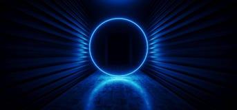 未来激光圈子发光的霓虹充满活力的科学幻想小说未来派走廊隧道蓝色虚拟现实黑暗的巨大的走廊入口 向量例证