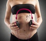 未来的婴孩听到音乐 图库摄影