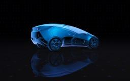 未来蓝色X-射线概念汽车 3d翻译 免版税库存图片