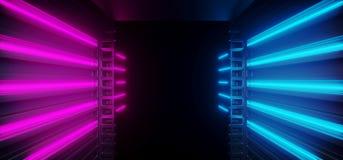 未来霓虹发光的充满活力的科学幻想小说未来派走廊隧道紫色蓝色桃红色虚拟现实黑暗的巨大的走廊入口混凝土 库存例证