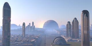 未来派全景的城市 库存照片