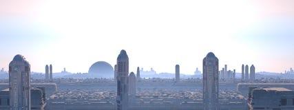未来派全景的城市 免版税库存图片