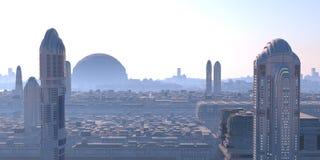 未来派全景的城市 免版税库存照片